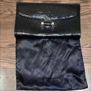 Authentic YSL Black Patent Leather Clutch